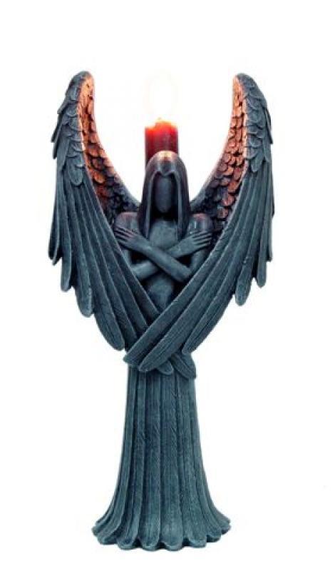 Angelo con porta candela   cm. 28