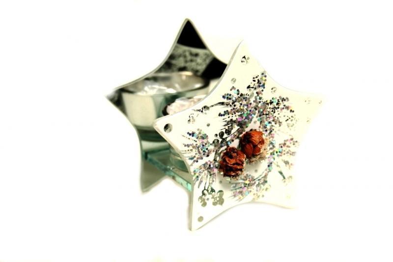 Candela vetro stelle piccole con bacche h cm. 9