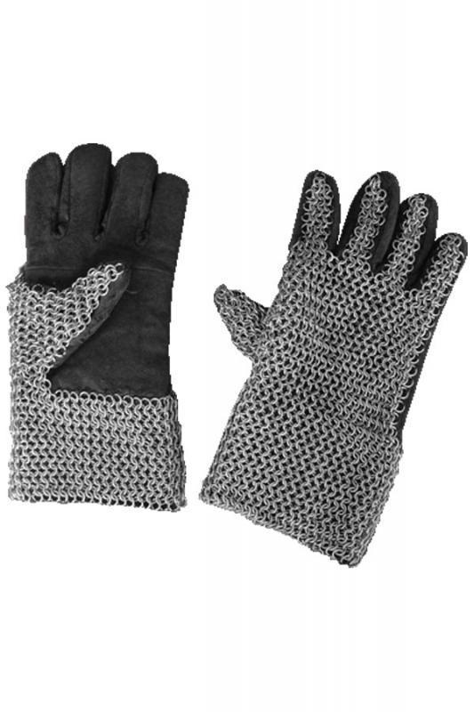 Guanti medioevali cuoio nero c/maglia di cotta