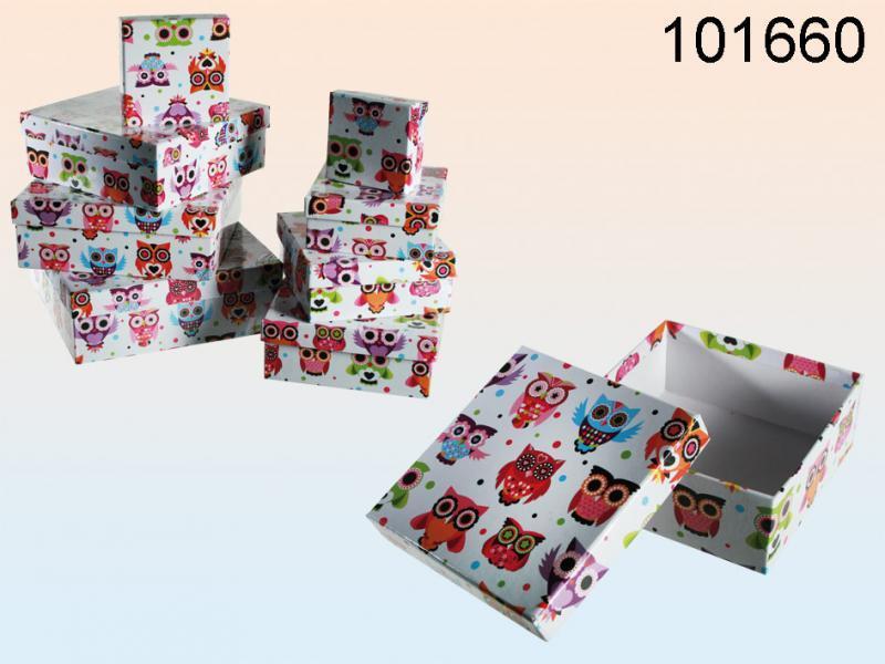 Scatola da regalo gufetti set 8 pz. 22,5x22,5x h.8
